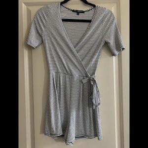 Blue white stripe knit women's short romper size s